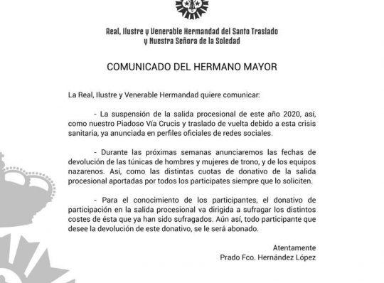 COMUNICADO DEL HERMANO MAYOR
