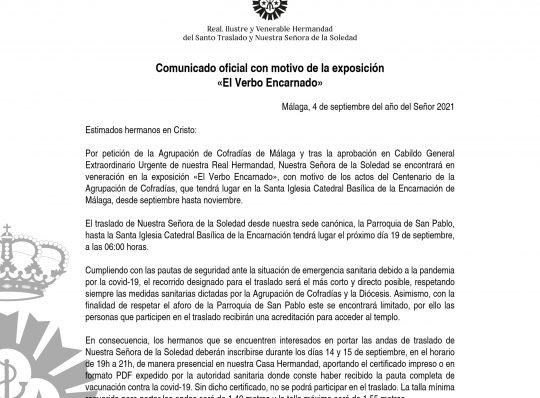 TRASLADO NTRA. SEÑORA DE LA SOLEDAD